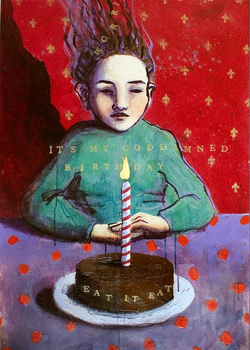 Birthday Greeting Card featuring the painting Its My Gd Birthday by Pauline Lim