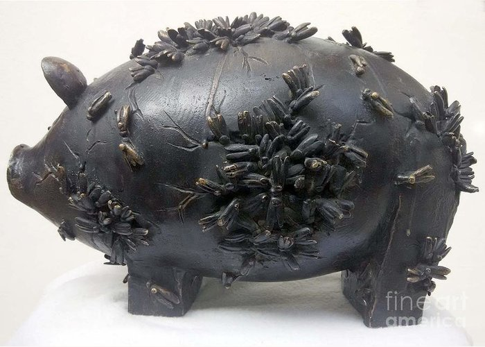Piggy Bank Sculpture Greeting Card featuring the sculpture It's Our Nature by Jyoti Rajput