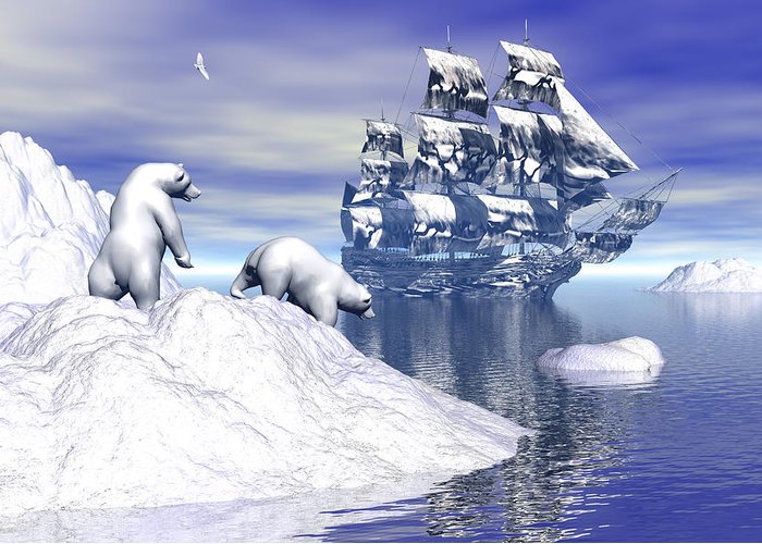 Bryce 3d Fantasy tall Ships Windjammer Greeting Card featuring the digital art Its Really Cold by Claude McCoy