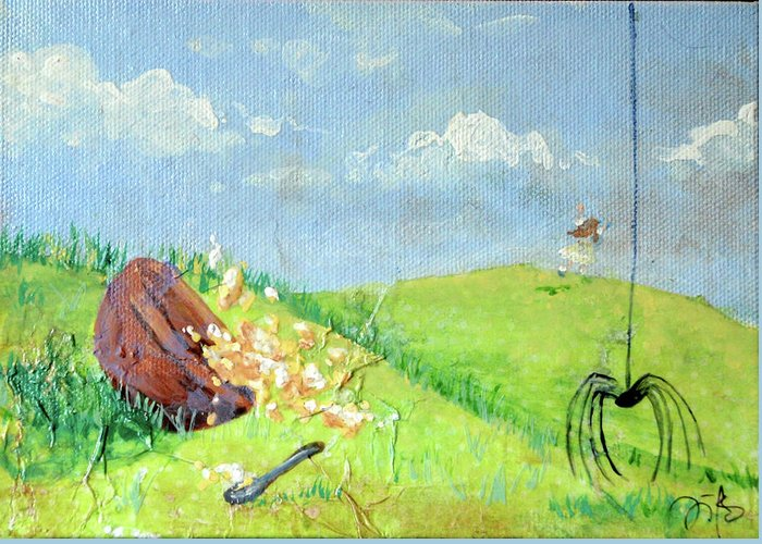 Itsy Bitsy Spider Greeting Card featuring the mixed media Itsy Bitsy Spider by Jennifer Kelly