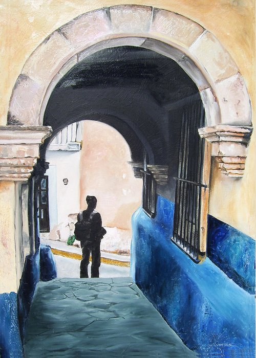 Archway Greeting Card featuring the painting Ivan In The Street by Laura Pierre-Louis