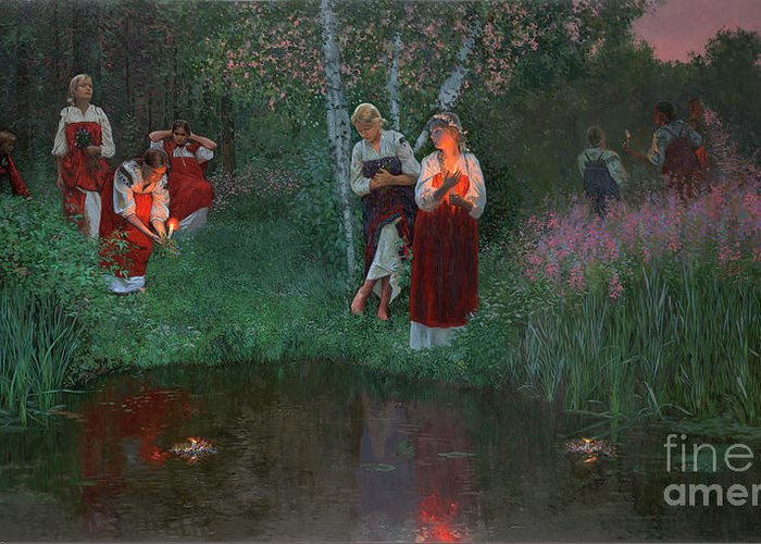 Girs Greeting Card featuring the painting Ivan Kupala. Fortunetelling For Wreaths. by Simon Kozhin