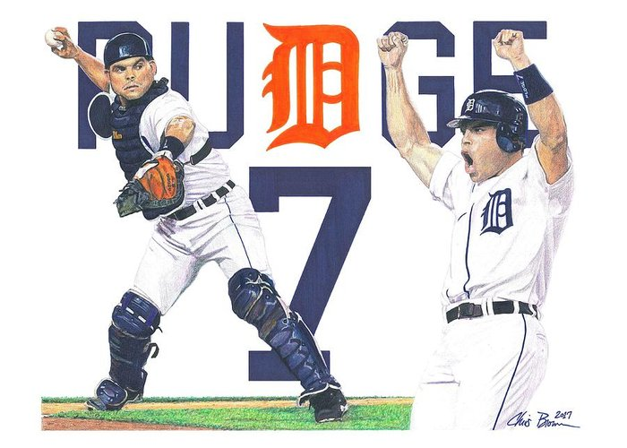 Pudge Rodriguez Drawings Greeting Cards