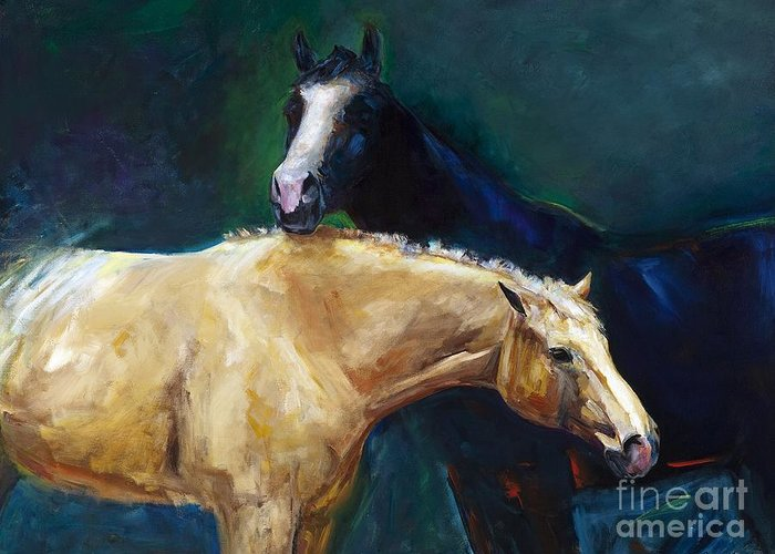 Horses Greeting Card featuring the painting I've Got Your Back by Frances Marino