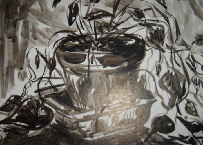 Still Life Greeting Card featuring the drawing ivy by Joseph Sandora Jr
