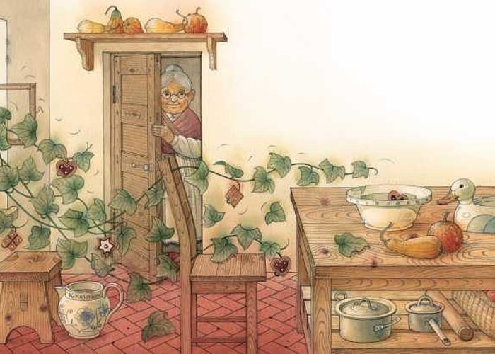 Illustration From Book Strawberry Day By Kestutis Kasparavicius Greeting Card featuring the painting Ivy by Kestutis Kasparavicius