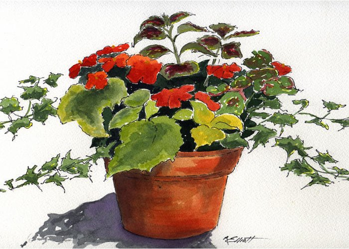 Flower Greeting Card featuring the painting Ivy League by Marsha Elliott