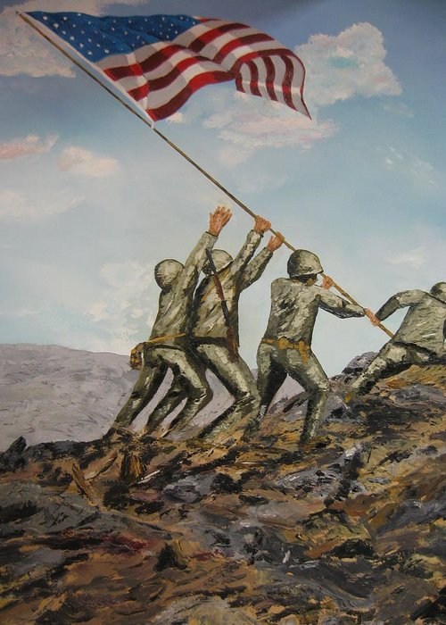 Military Art Greeting Card featuring the painting Iwo Jima by Brian Hustead