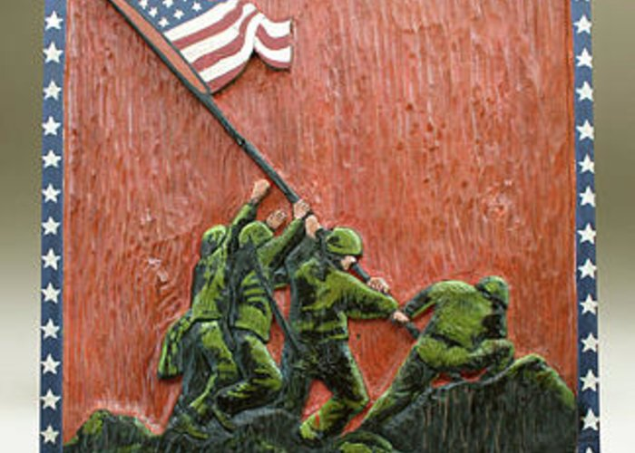 Flag Greeting Card featuring the painting Iwo Jima by James Neill