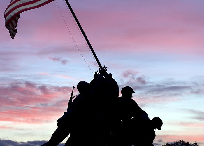 Iwo Greeting Card featuring the photograph Iwo Jima Memorial In Arlington Virginia by Brendan Reals