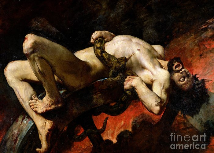 Man Greeting Card featuring the painting Ixion Thrown Into Hades by Jules Elie Delaunay