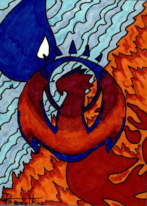 Izzet Greeting Card featuring the drawing Izzet Experience Or Mana Counter by Donna Forsyth