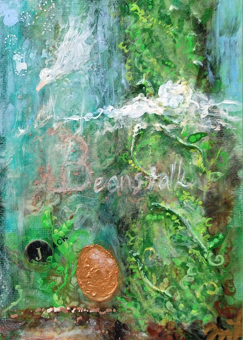 Green Greeting Card featuring the mixed media Jack And The Beanstalk by Jennifer Kelly