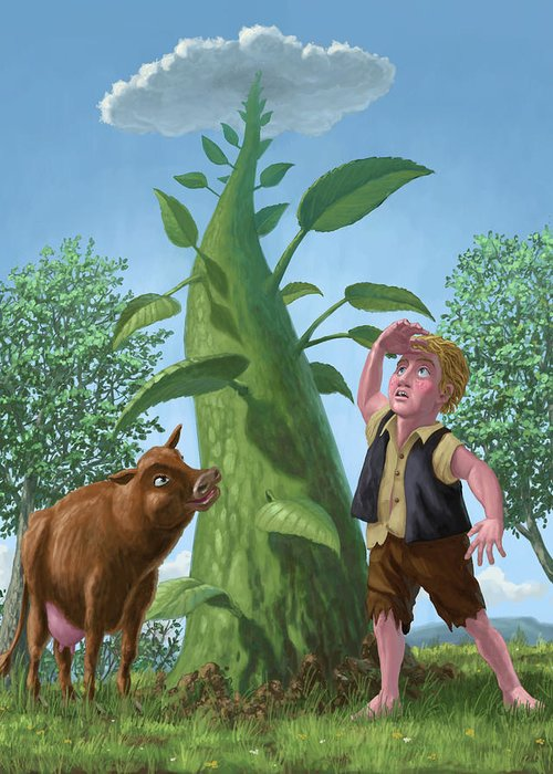 Jack Greeting Card featuring the painting Jack And The Beanstalk by Martin Davey