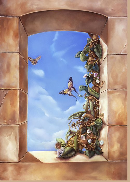 Jack And The Beanstalk Window Greeting Card featuring the painting Jack And The Beanstalk Window by Mary Johnson