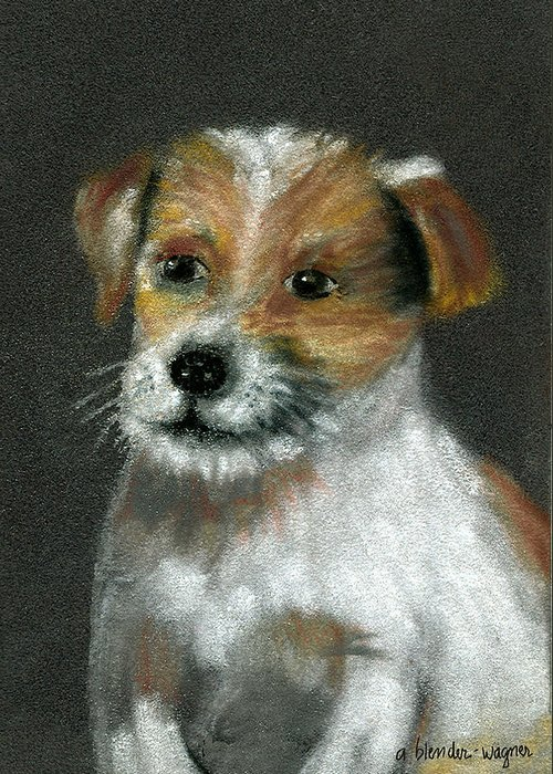 Dog Greeting Card featuring the pastel Jack by Arline Wagner