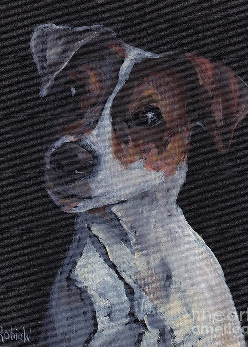 Jack Russell Greeting Card featuring the painting Jack Black by Robin Wiesneth