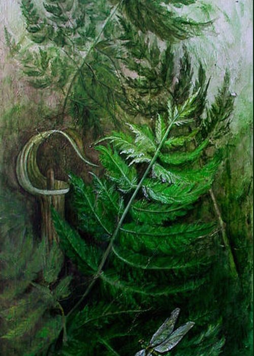 Jack-in-the-pulpit Greeting Card featuring the mixed media Jack In The Pulpit by Sandy Clift