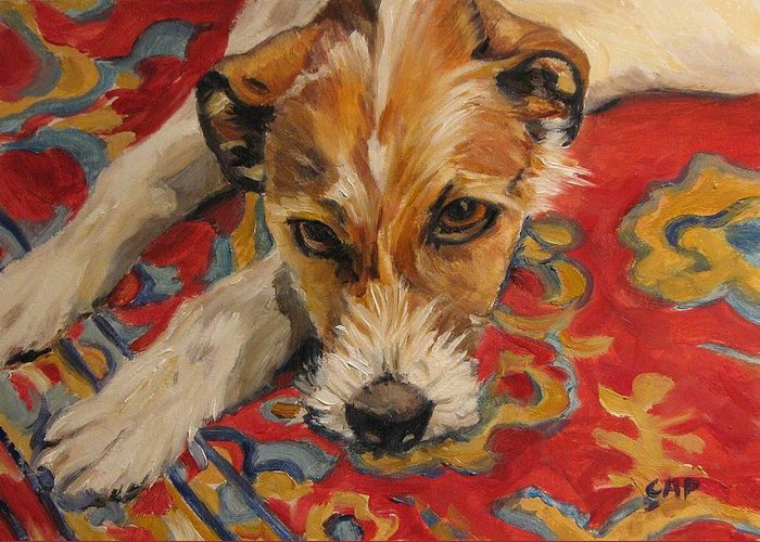 Dog Greeting Card featuring the painting Jack Russell by Cheryl Pass