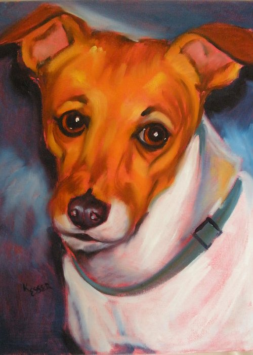 Jack Russel Painting Greeting Card featuring the painting Jack Russell Terrier by Kaytee Esser