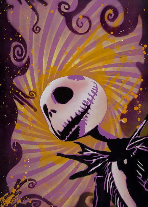 Pop Greeting Card featuring the painting Jack Skellington by Tai Taeoalii