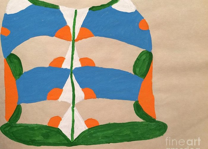Very Pretty Blue And Green And Orange Colors Greeting Card featuring the painting Jacket by Lise Theodoridis