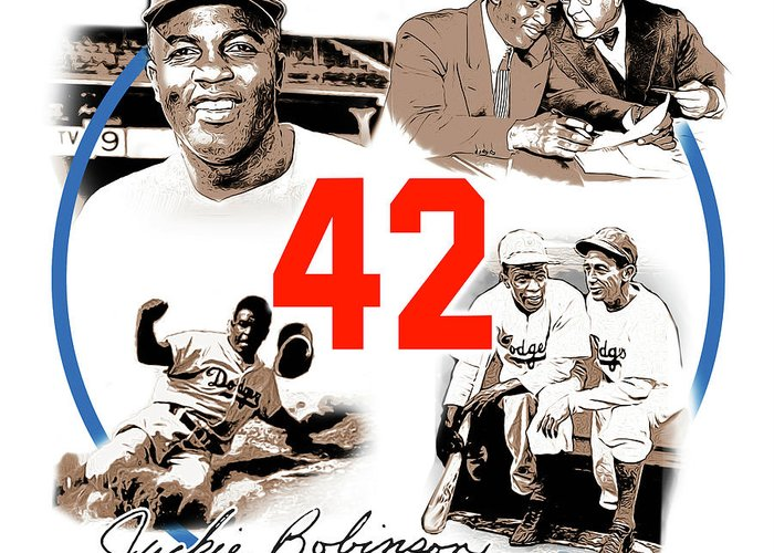 Jackie Robinson Greeting Card featuring the digital art Jackie 42 by Greg Joens