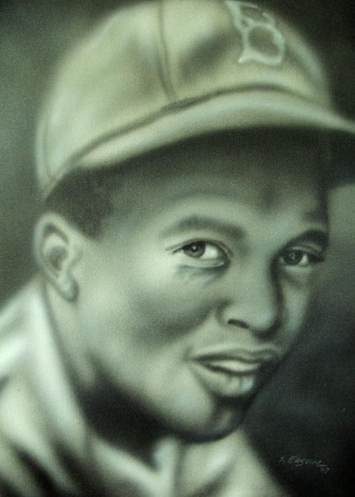Sports Baseball Portrait Greeting Card featuring the painting Jackie Robinson by Scott Easom
