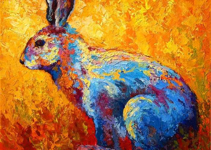 Rabbit Greeting Card featuring the painting Jackrabbit by Marion Rose