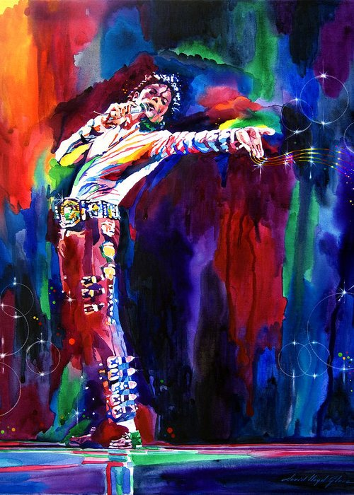 Michael Jackson Greeting Card featuring the painting Jackson Magic by David Lloyd Glover