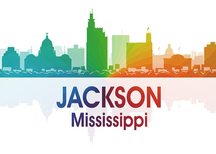 Jackson Greeting Card featuring the digital art Jackson Ms by Angelina Vick
