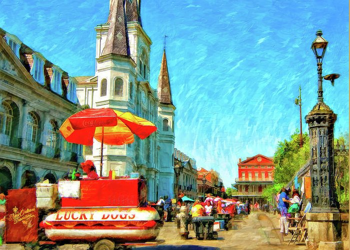 French Quarter Greeting Card featuring the photograph Jackson Square Oil by Steve Harrington