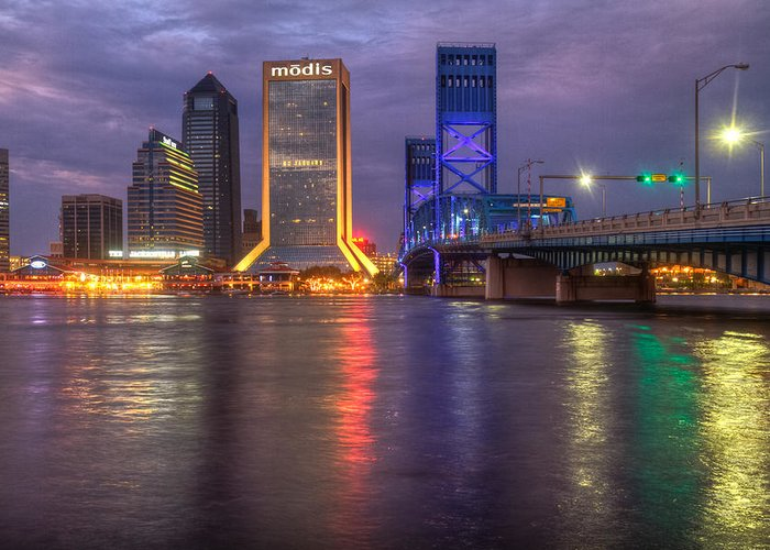 Clouds Greeting Card featuring the photograph Jacksonville At Dusk by Debra and Dave Vanderlaan