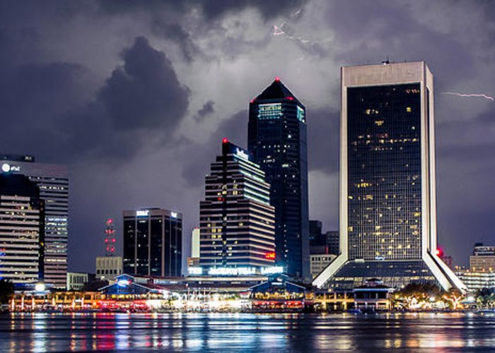 Jacksonville Greeting Card featuring the photograph Jacksonville On A Stormy Evening by Jeff Turpin