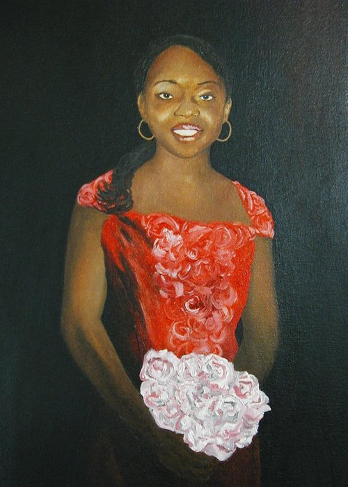 Portrait Greeting Card featuring the painting Jaclyn by Angelo Thomas