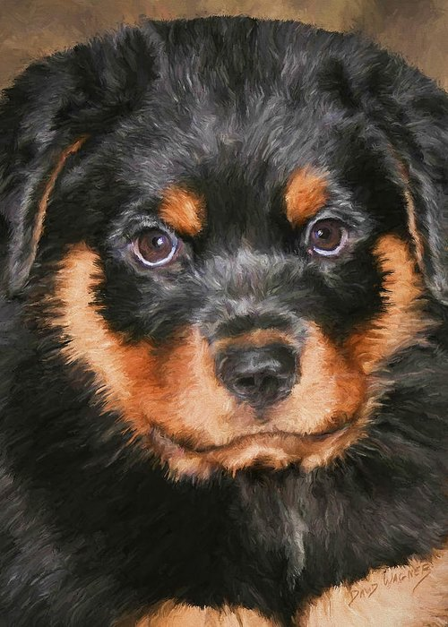 Rottweiler Greeting Card featuring the painting Jacob by David Wagner