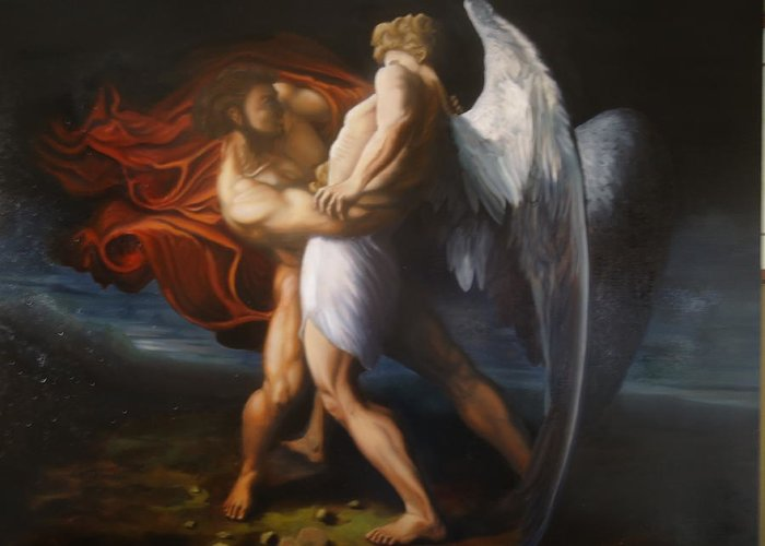 Angel Greeting Card featuring the painting Jacob Wrestling The Angel by Paul Gilbert Baswell