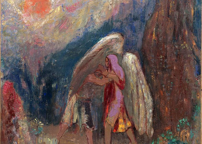 Odilon Redon Greeting Card featuring the painting Jacob Wrestling With The Angel by Odilon Redon