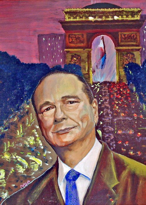 Portrait Greeting Card featuring the painting Jacques Chirac President by Aymeric NOA