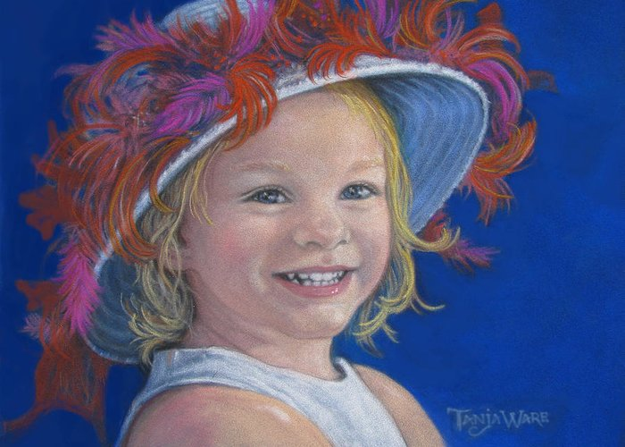 Baby Greeting Card featuring the painting Jada's Hat by Tanja Ware