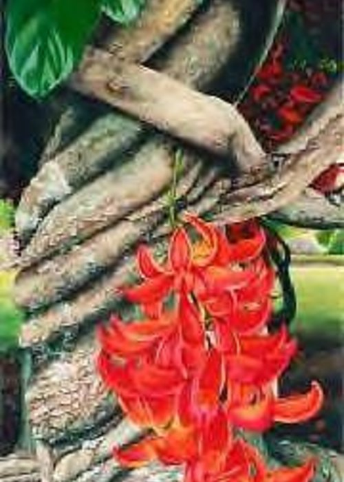 Flowers Greeting Card featuring the painting Jade Vine by Lelia DeMello