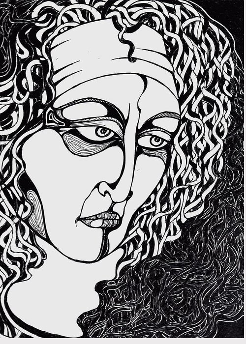 Ink Drawing Greeting Card featuring the drawing Jaded by Rae Chichilnitsky