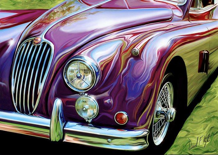 Jaguar Greeting Card featuring the digital art Jaguar 140 Coupe by David Kyte