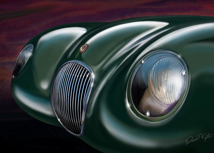 Jaguar Greeting Card featuring the painting Jaguar C Type by David Kyte
