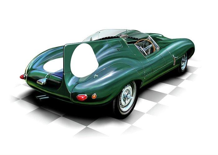 Automotive Greeting Card featuring the digital art Jaguar D Type by David Kyte