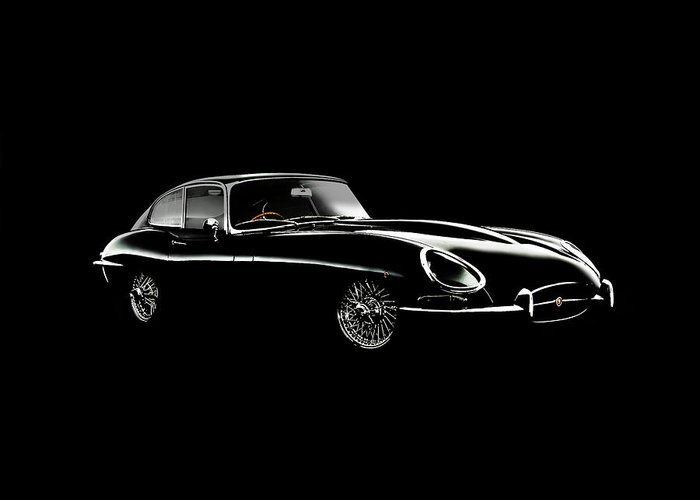 Jaguar E Type Greeting Card featuring the photograph Jaguar E Type Black Edition by Mark Rogan