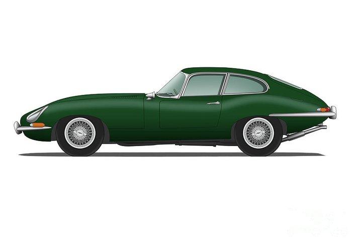 Jaguar E Type >> Jaguar E Type Fixed Head Coupe British Racing Green Greeting Card