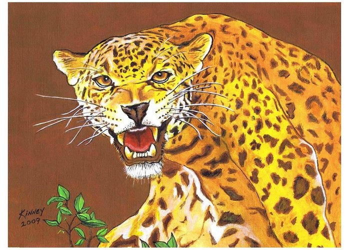 Big Cats Greeting Card featuring the painting Jaguar by Jay Kinney