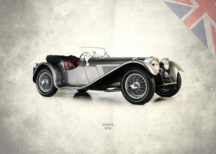 Jaguar Greeting Card featuring the photograph Jaguar Ss100 1936 by Mark Rogan