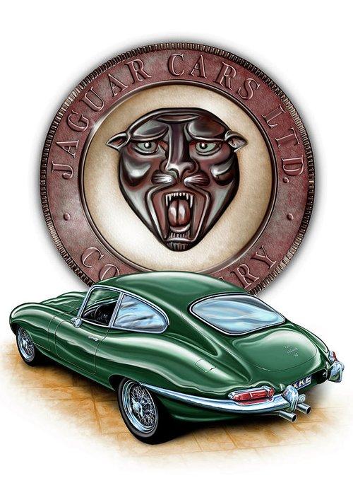 Jaguar Greeting Card featuring the painting Jaguar Xke British Racing Green by David Kyte
